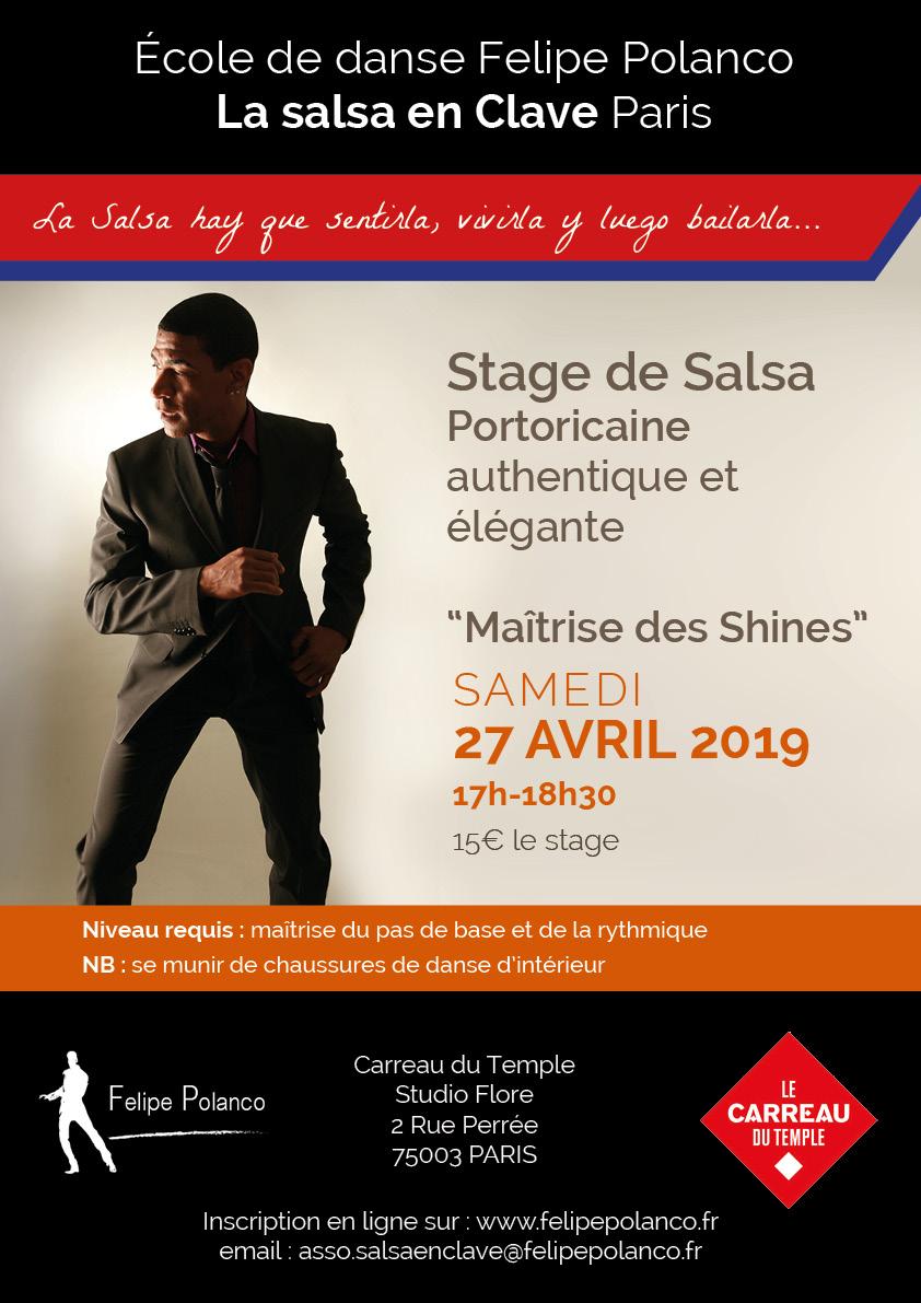 Stage Salsa Portoricaine maîtrise des shines à Paris au Carreau du Temple le samedi 27 avril 2019 à 17h