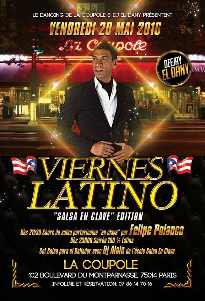 20 mai 2016 Soirée salsa portoricaine avec Felipe Polanco à la Coupole
