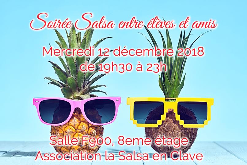 Soirée salsa entre élèves et amis mercredi 12 décembre de 19h30 à 23h